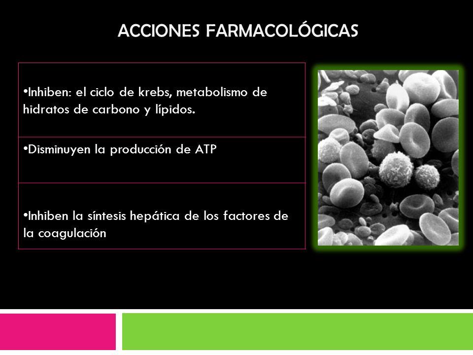 Inhiben: el ciclo de krebs, metabolismo de hidratos de carbono y lípidos. Disminuyen la producción de ATP Inhiben la síntesis hepática de los factores