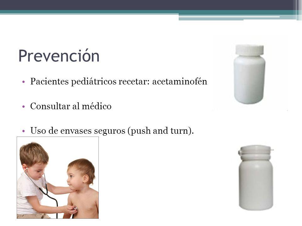Prevención Pacientes pediátricos recetar: acetaminofén Consultar al médico Uso de envases seguros (push and turn).