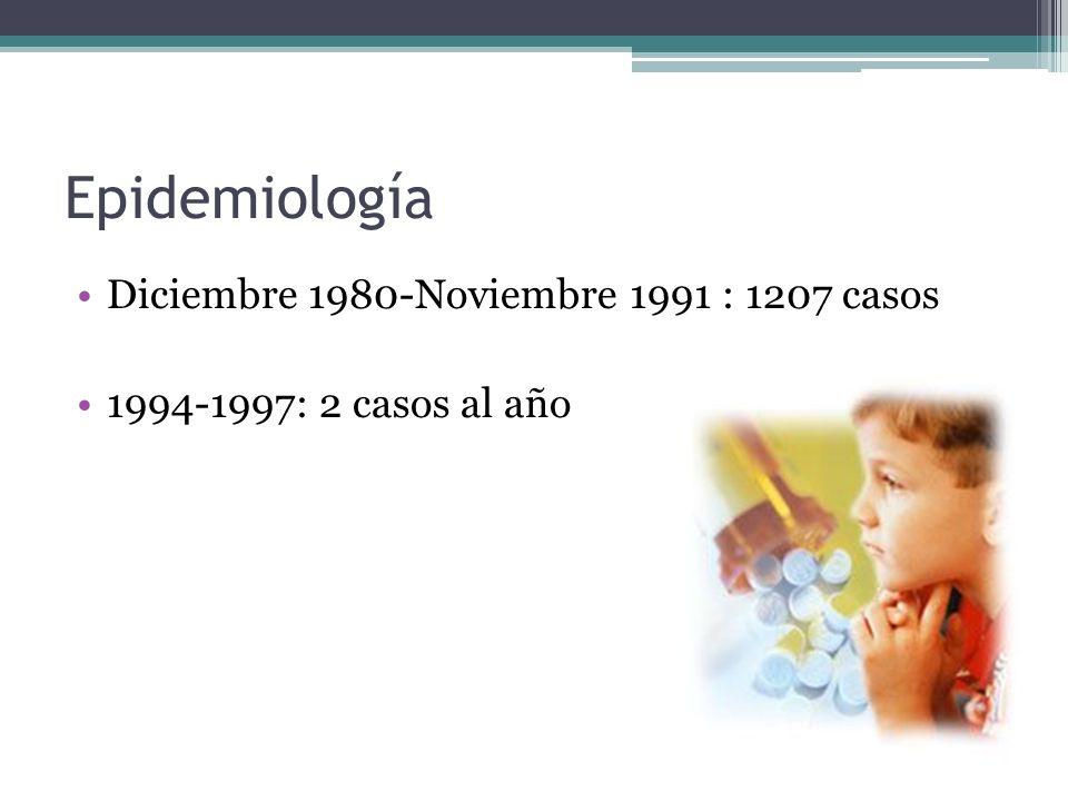 Epidemiología Diciembre 1980-Noviembre 1991 : 1207 casos 1994-1997: 2 casos al año