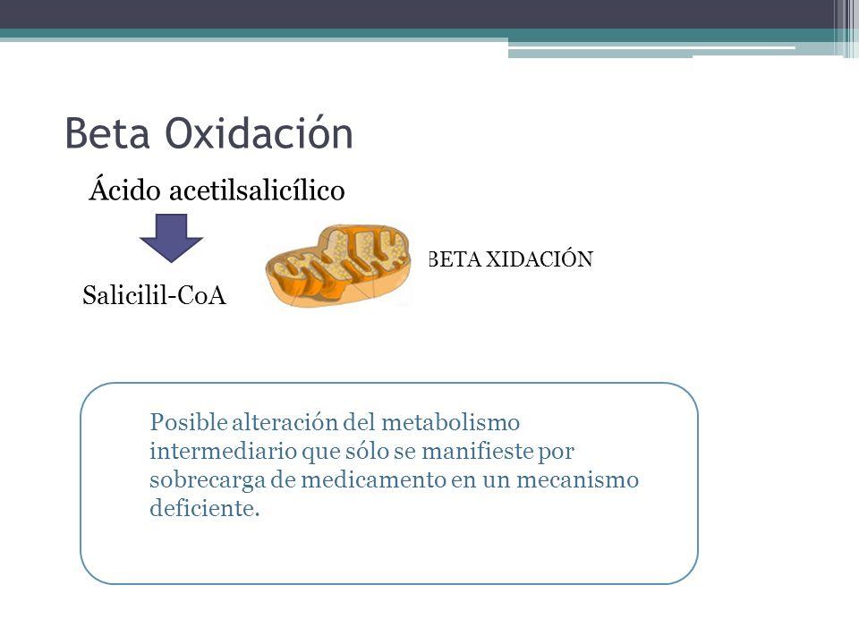 Beta Oxidación Ácido acetilsalicílico Salicilil-CoA BETA XIDACIÓN Posible alteración del metabolismo intermediario que sólo se manifieste por sobrecar