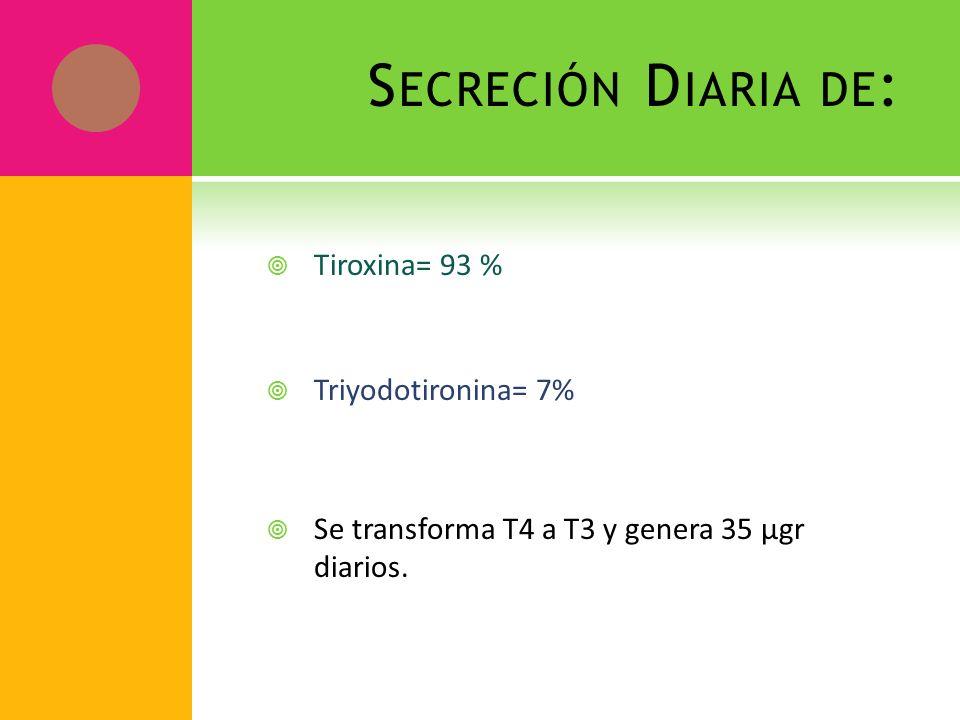 S ECRECIÓN D IARIA DE : Tiroxina= 93 % Triyodotironina= 7% Se transforma T4 a T3 y genera 35 µgr diarios.