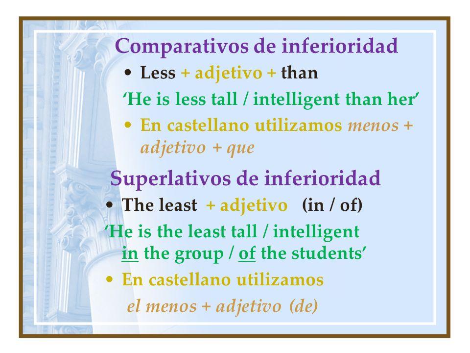 Comparativos de inferioridad Less + adjetivo + than He is less tall / intelligent than her En castellano utilizamos menos + adjetivo + que Superlativo