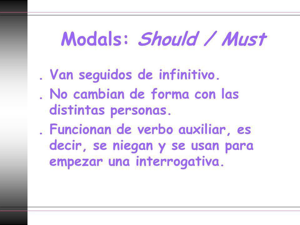 Modals: Should / Must. Van seguidos de infinitivo.. No cambian de forma con las distintas personas.. Funcionan de verbo auxiliar, es decir, se niegan