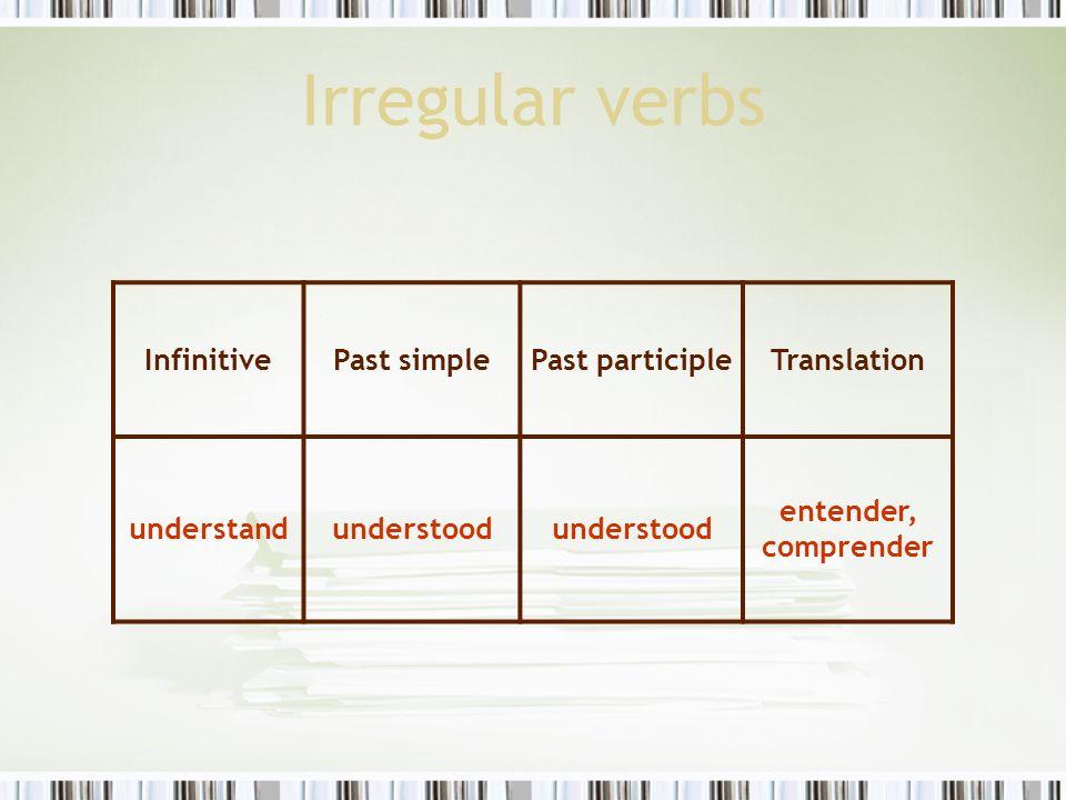 Irregular verbs InfinitivePast simplePast participleTranslation understandunderstood entender, comprender