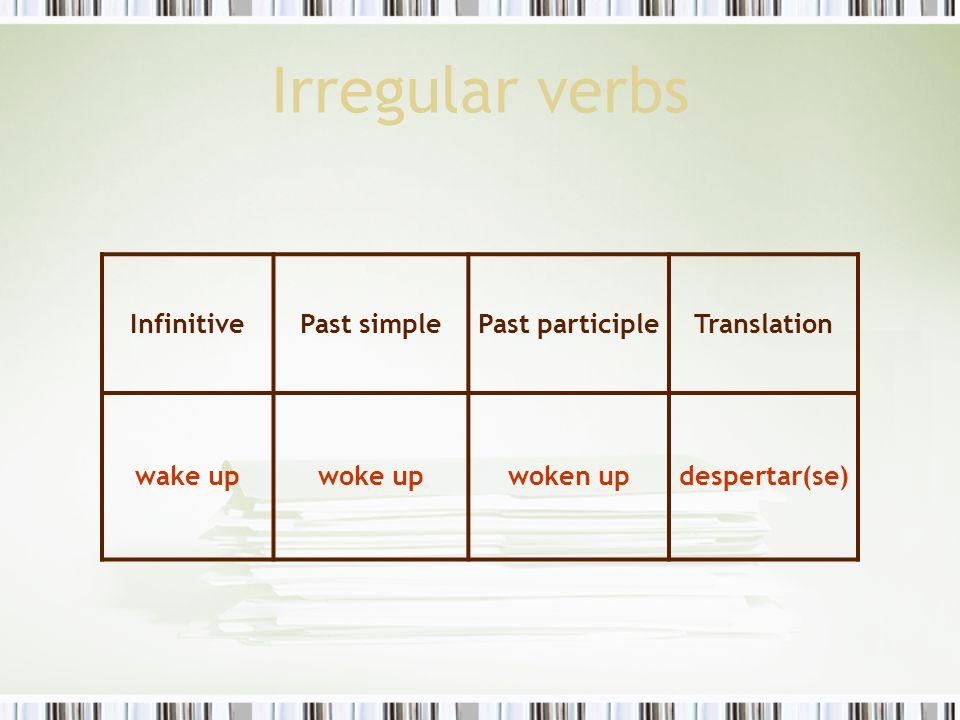 Irregular verbs InfinitivePast simplePast participleTranslation wake upwoke upwoken updespertar(se)