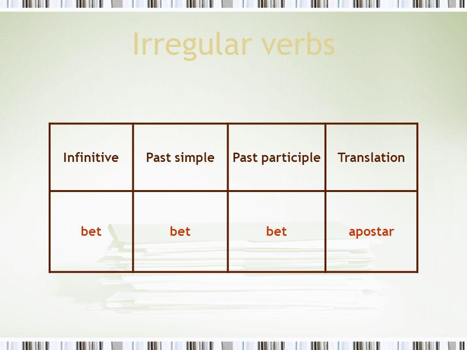Irregular verbs InfinitivePast simplePast participleTranslation bet apostar