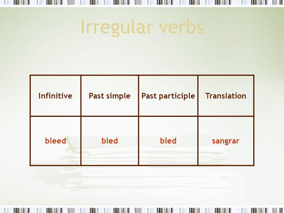 Irregular verbs InfinitivePast simplePast participleTranslation bleedbled sangrar