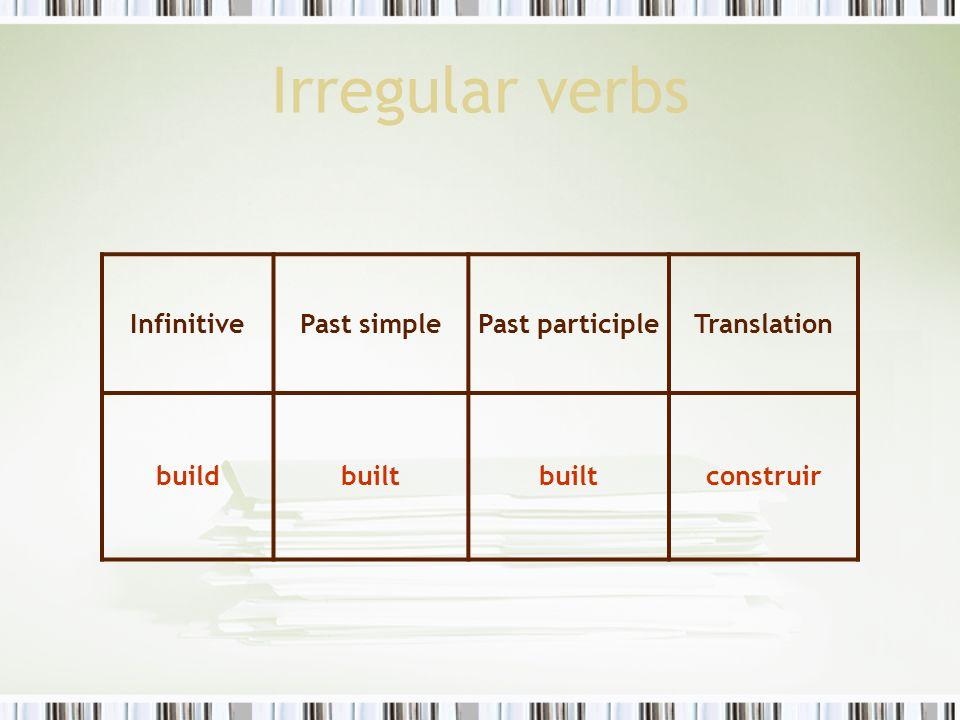 Irregular verbs InfinitivePast simplePast participleTranslation buildbuilt construir