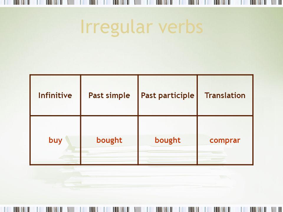 Irregular verbs InfinitivePast simplePast participleTranslation buybought comprar