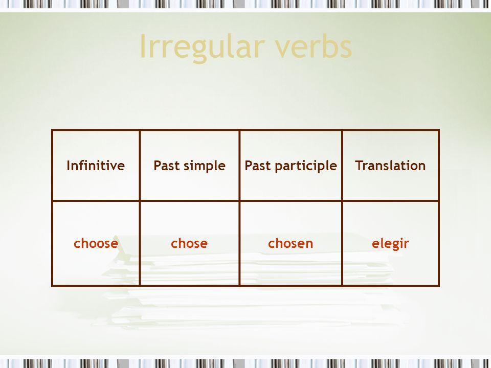 Irregular verbs InfinitivePast simplePast participleTranslation choosechosechosenelegir