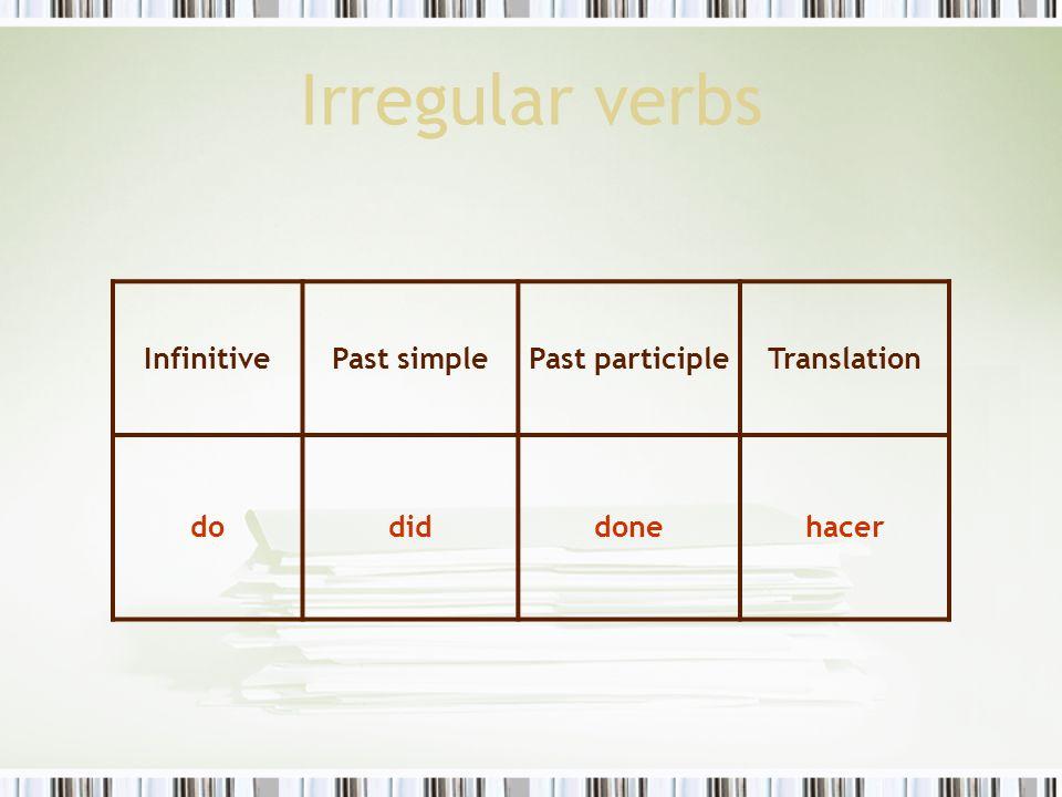 Irregular verbs InfinitivePast simplePast participleTranslation dodiddonehacer