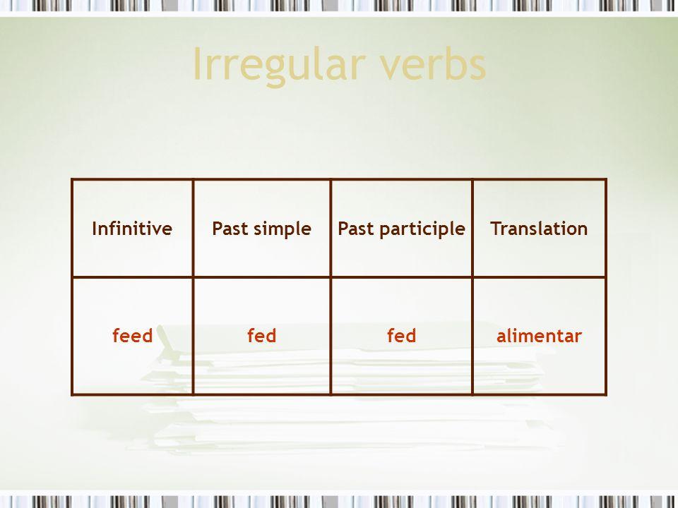 Irregular verbs InfinitivePast simplePast participleTranslation feedfed alimentar