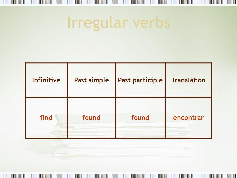 Irregular verbs InfinitivePast simplePast participleTranslation findfound encontrar