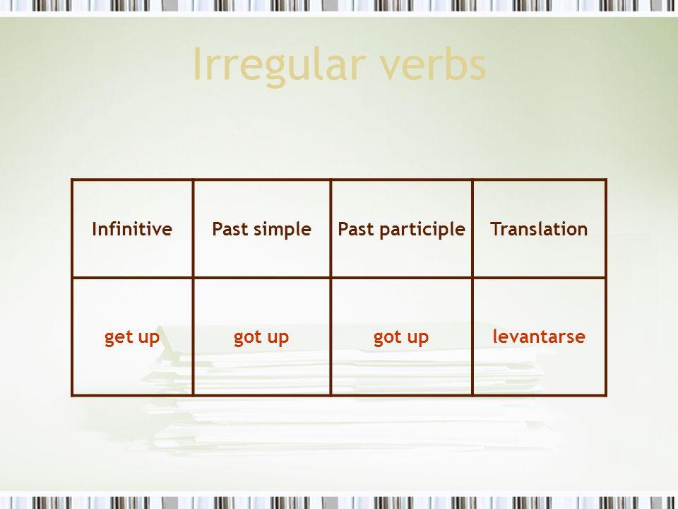 Irregular verbs InfinitivePast simplePast participleTranslation get upgot up levantarse