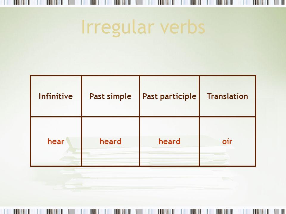 Irregular verbs InfinitivePast simplePast participleTranslation hearheard oír