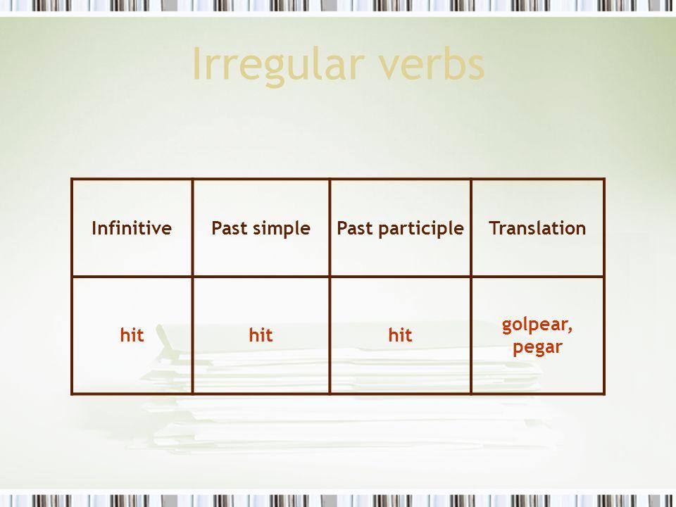 Irregular verbs InfinitivePast simplePast participleTranslation hit golpear, pegar