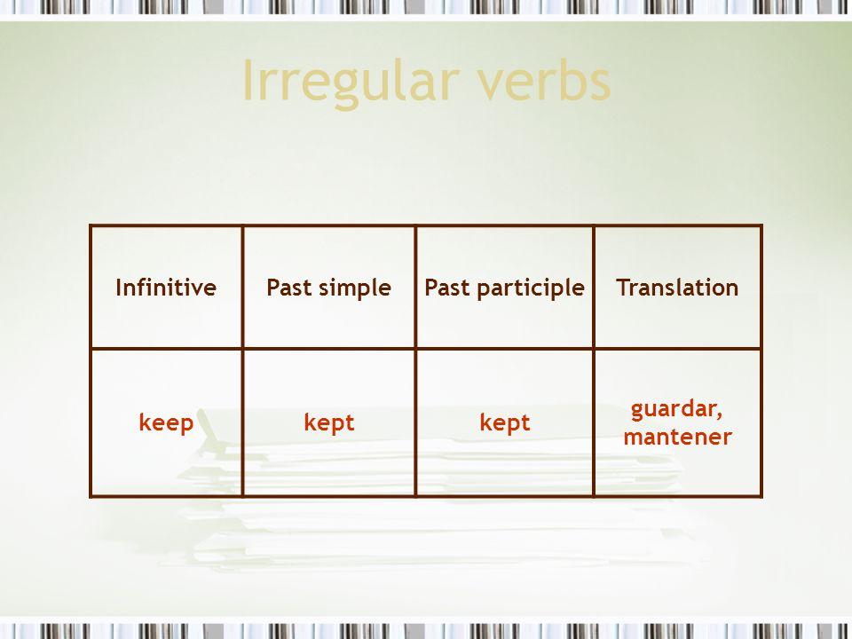 Irregular verbs InfinitivePast simplePast participleTranslation keepkept guardar, mantener