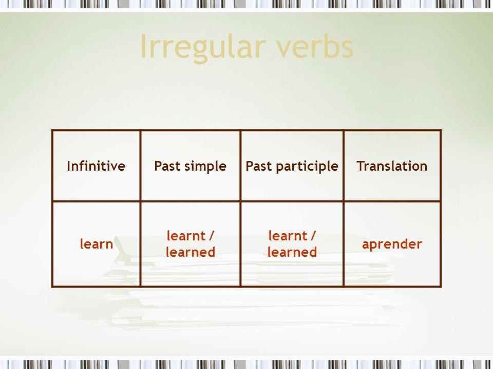Irregular verbs InfinitivePast simplePast participleTranslation learn learnt / learned aprender