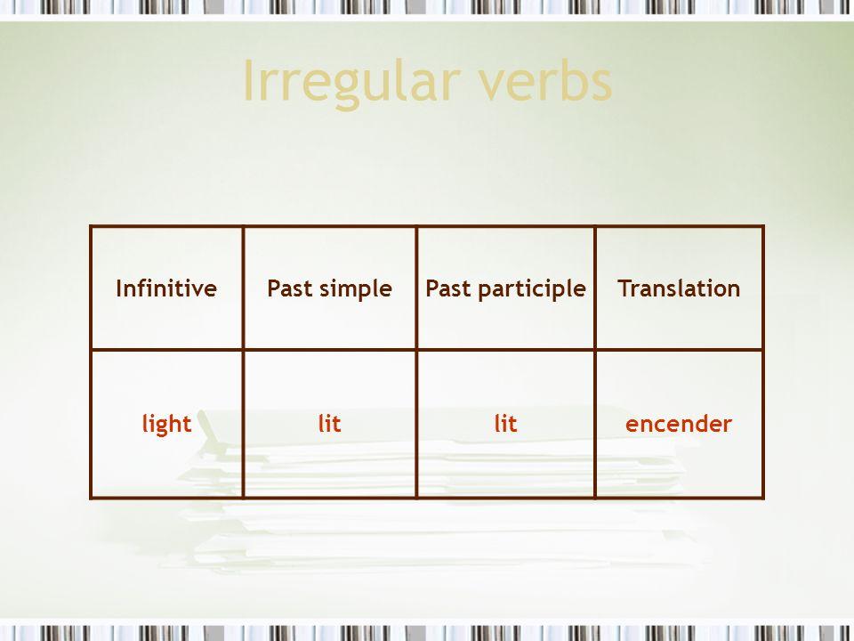 Irregular verbs InfinitivePast simplePast participleTranslation lightlit encender
