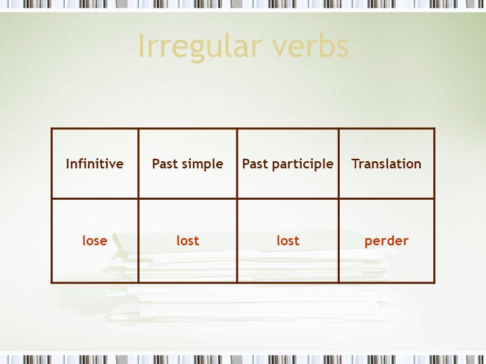 Irregular verbs InfinitivePast simplePast participleTranslation loselost perder