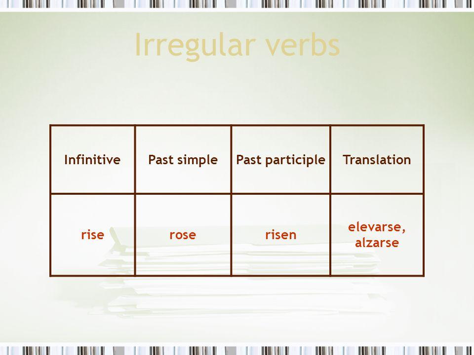 Irregular verbs InfinitivePast simplePast participleTranslation riseroserisen elevarse, alzarse