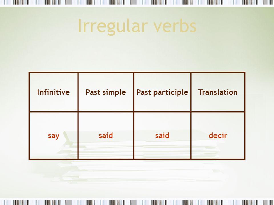 Irregular verbs InfinitivePast simplePast participleTranslation saysaid decir