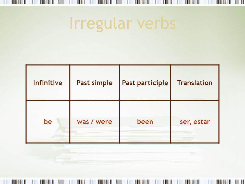 Irregular verbs InfinitivePast simplePast participleTranslation flyflewflownvolar