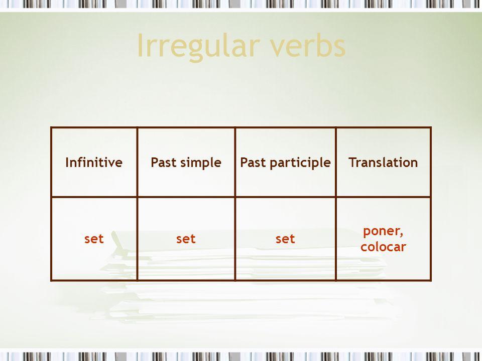 Irregular verbs InfinitivePast simplePast participleTranslation set poner, colocar