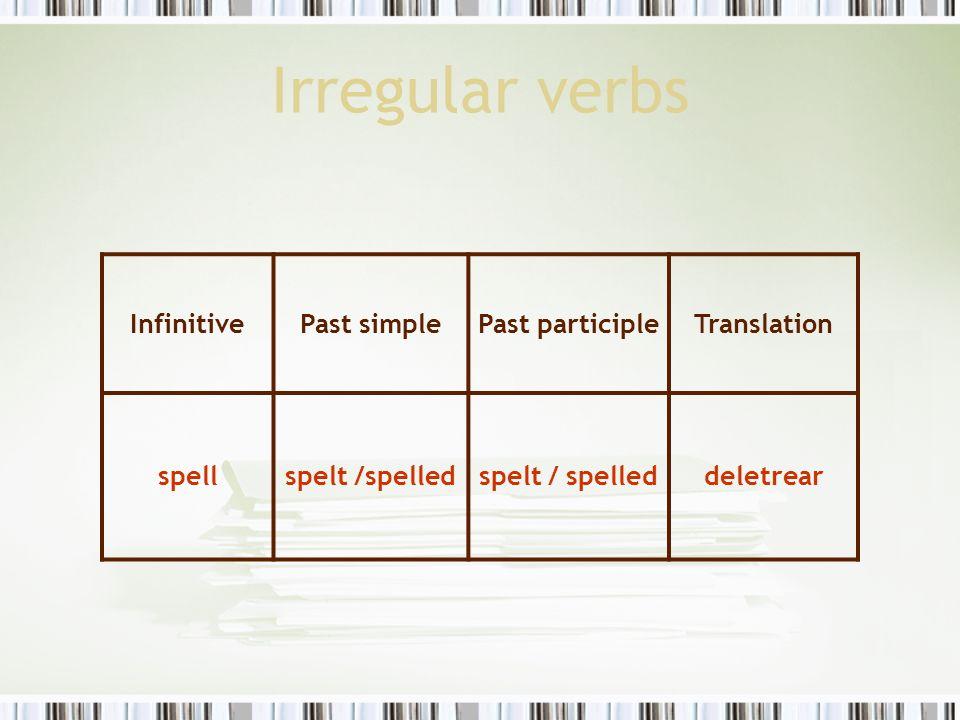 Irregular verbs InfinitivePast simplePast participleTranslation spellspelt /spelled deletrear