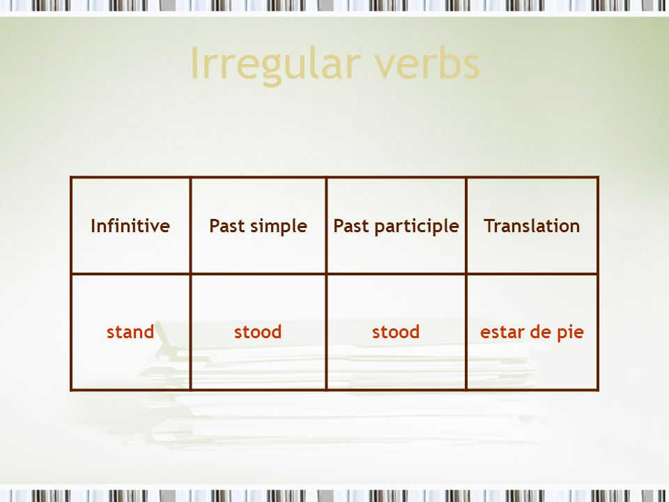 Irregular verbs InfinitivePast simplePast participleTranslation standstood estar de pie