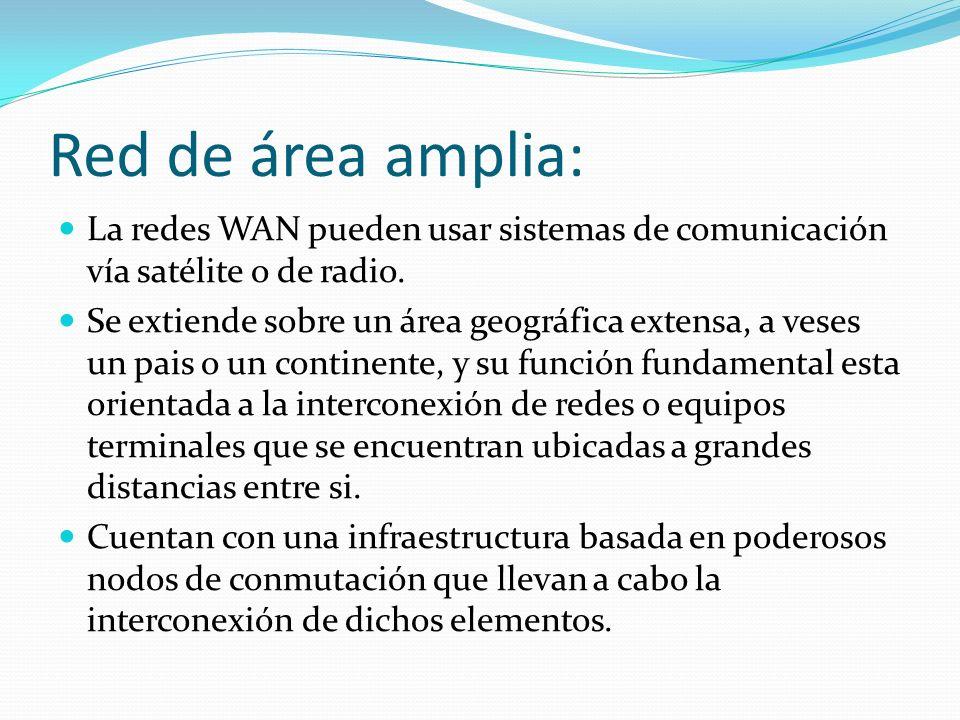 Red de área amplia: La redes WAN pueden usar sistemas de comunicación vía satélite o de radio. Se extiende sobre un área geográfica extensa, a veses u