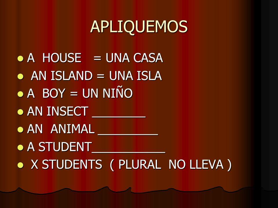 APLIQUEMOS A HOUSE = UNA CASA A HOUSE = UNA CASA AN ISLAND = UNA ISLA AN ISLAND = UNA ISLA A BOY = UN NIÑO A BOY = UN NIÑO AN INSECT ________ AN INSEC