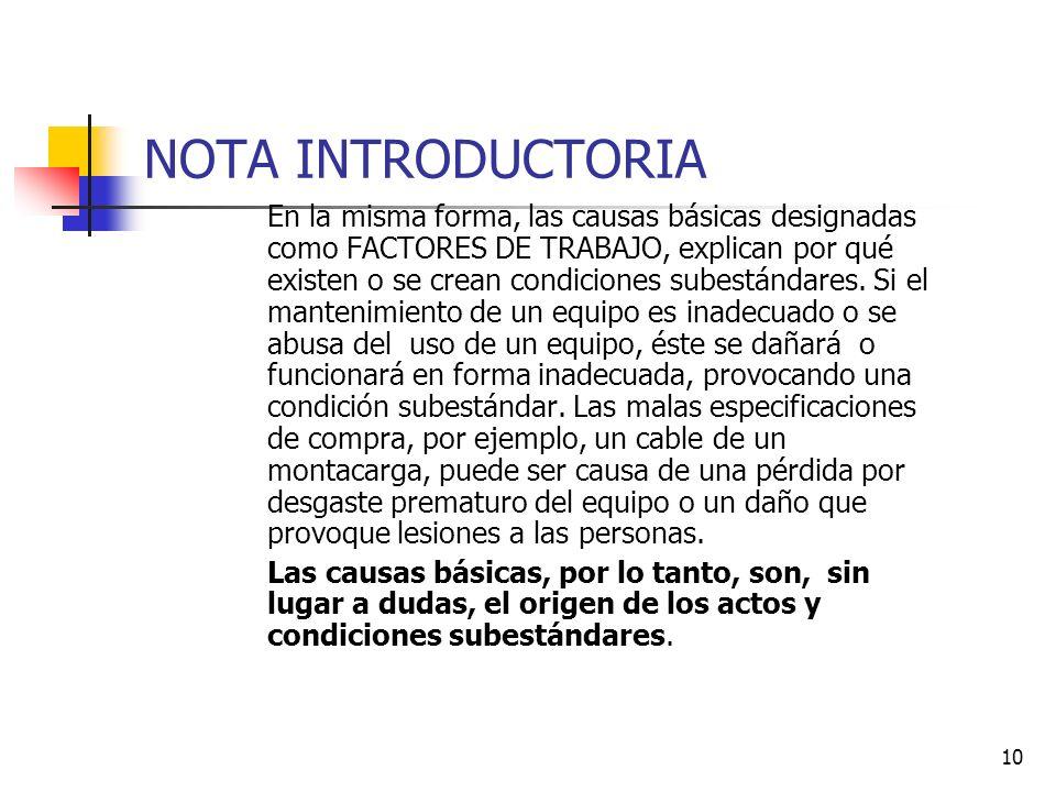 10 NOTA INTRODUCTORIA En la misma forma, las causas básicas designadas como FACTORES DE TRABAJO, explican por qué existen o se crean condiciones subes