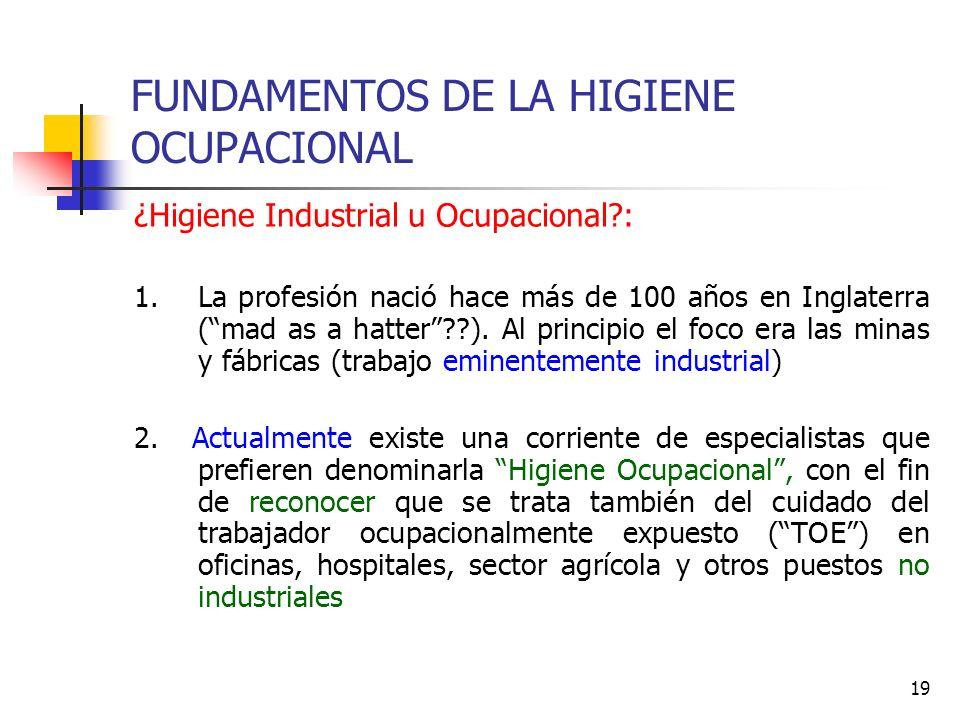 19 FUNDAMENTOS DE LA HIGIENE OCUPACIONAL ¿Higiene Industrial u Ocupacional?: 1.La profesión nació hace más de 100 años en Inglaterra (mad as a hatter?