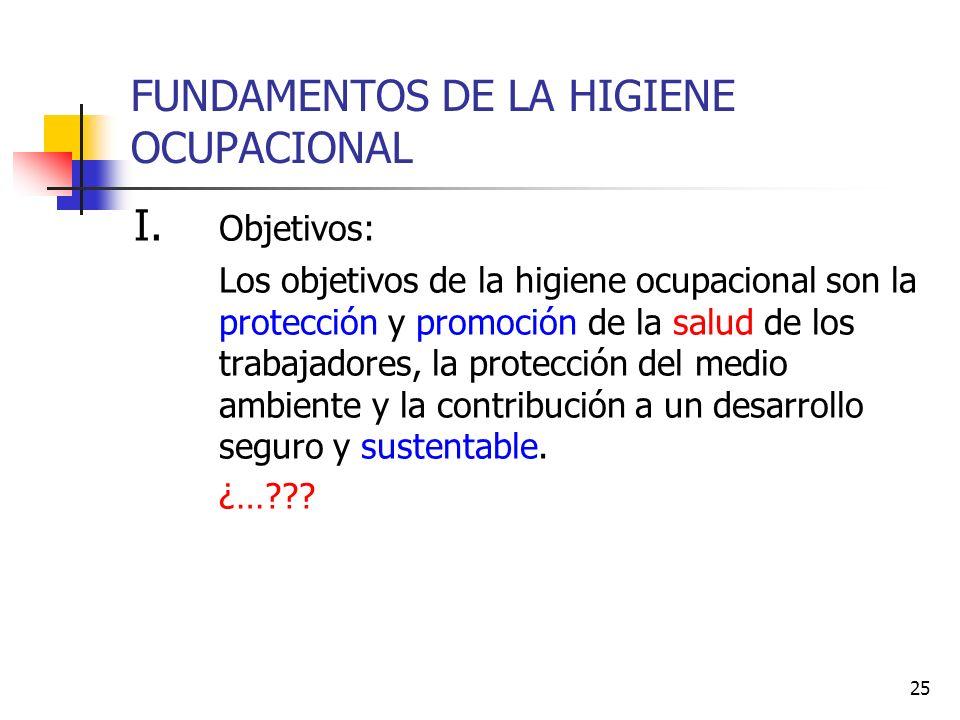 25 FUNDAMENTOS DE LA HIGIENE OCUPACIONAL I. Objetivos: Los objetivos de la higiene ocupacional son la protección y promoción de la salud de los trabaj
