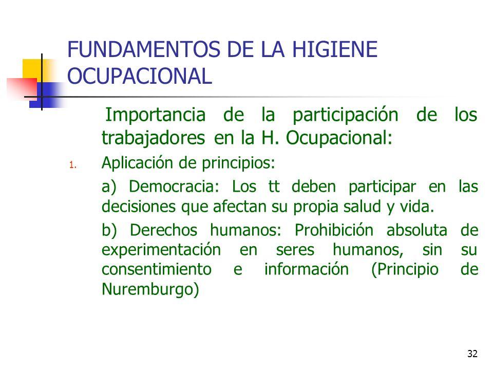 32 FUNDAMENTOS DE LA HIGIENE OCUPACIONAL Importancia de la participación de los trabajadores en la H. Ocupacional: 1. Aplicación de principios: a) Dem