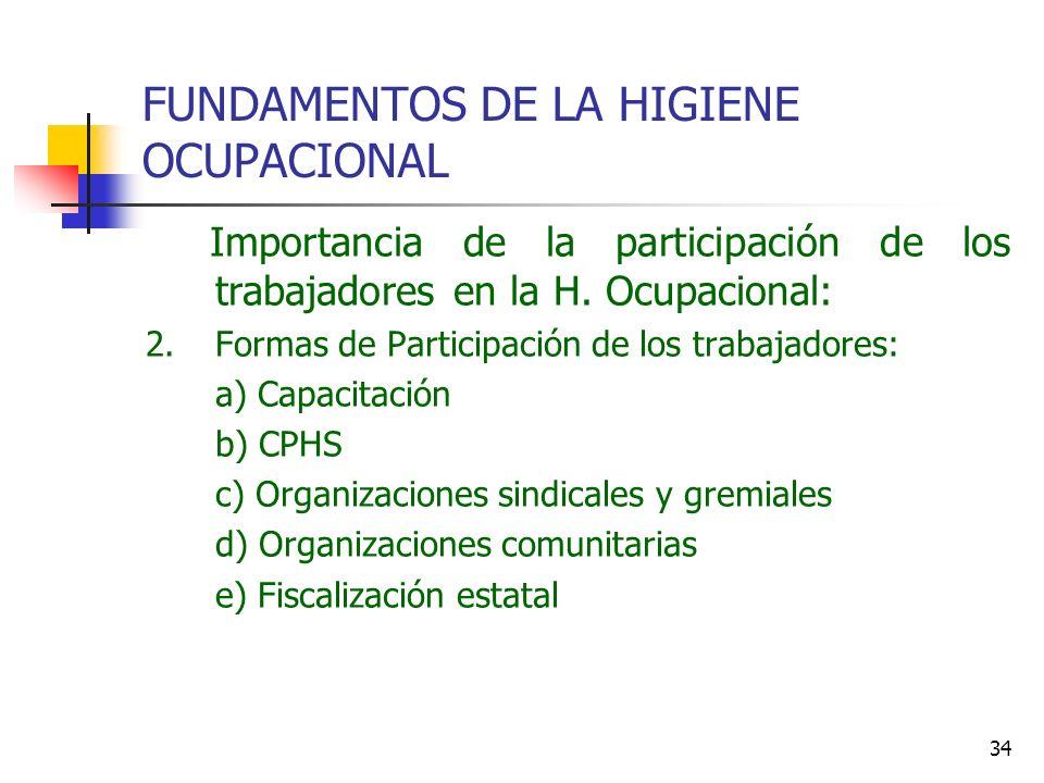 34 FUNDAMENTOS DE LA HIGIENE OCUPACIONAL Importancia de la participación de los trabajadores en la H. Ocupacional: 2.Formas de Participación de los tr