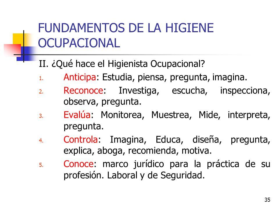 35 FUNDAMENTOS DE LA HIGIENE OCUPACIONAL II. ¿Qué hace el Higienista Ocupacional? 1. Anticipa: Estudia, piensa, pregunta, imagina. 2. Reconoce: Invest
