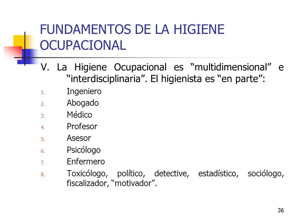 36 FUNDAMENTOS DE LA HIGIENE OCUPACIONAL V. La Higiene Ocupacional es multidimensional e interdisciplinaria. El higienista es en parte: 1. Ingeniero 2