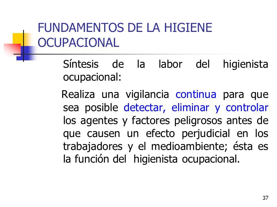 37 FUNDAMENTOS DE LA HIGIENE OCUPACIONAL Síntesis de la labor del higienista ocupacional: Realiza una vigilancia continua para que sea posible detecta
