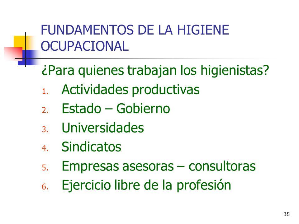 38 FUNDAMENTOS DE LA HIGIENE OCUPACIONAL ¿Para quienes trabajan los higienistas? 1. Actividades productivas 2. Estado – Gobierno 3. Universidades 4. S