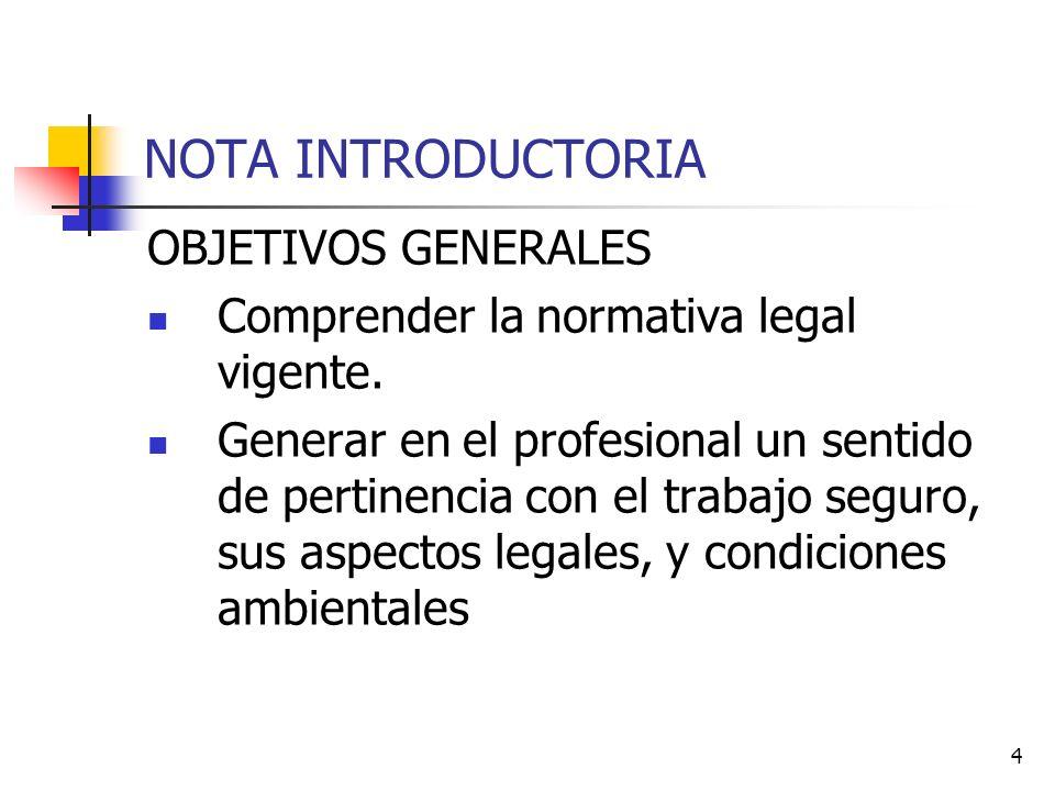 4 NOTA INTRODUCTORIA OBJETIVOS GENERALES Comprender la normativa legal vigente. Generar en el profesional un sentido de pertinencia con el trabajo seg