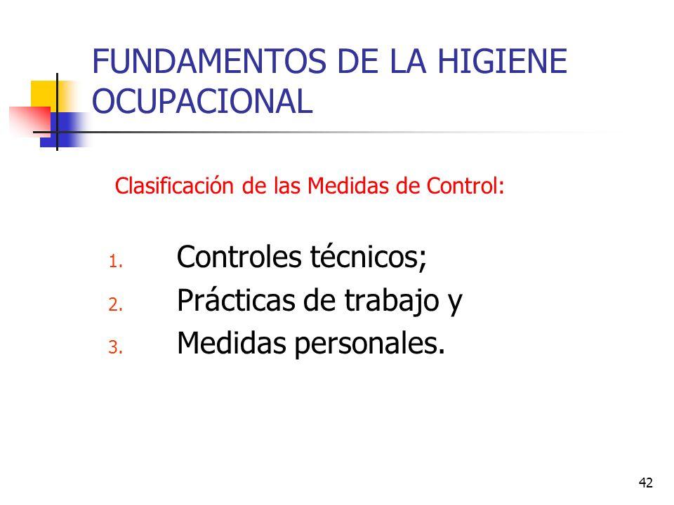 42 FUNDAMENTOS DE LA HIGIENE OCUPACIONAL Clasificación de las Medidas de Control: 1. Controles técnicos; 2. Prácticas de trabajo y 3. Medidas personal