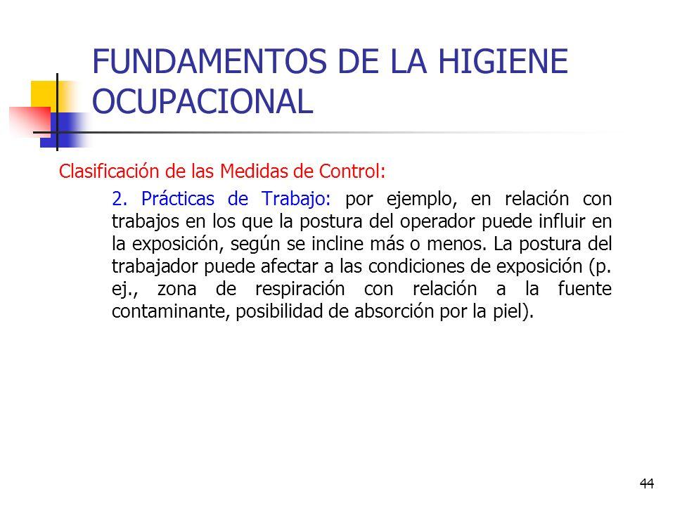 44 FUNDAMENTOS DE LA HIGIENE OCUPACIONAL Clasificación de las Medidas de Control: 2. Prácticas de Trabajo: por ejemplo, en relación con trabajos en lo