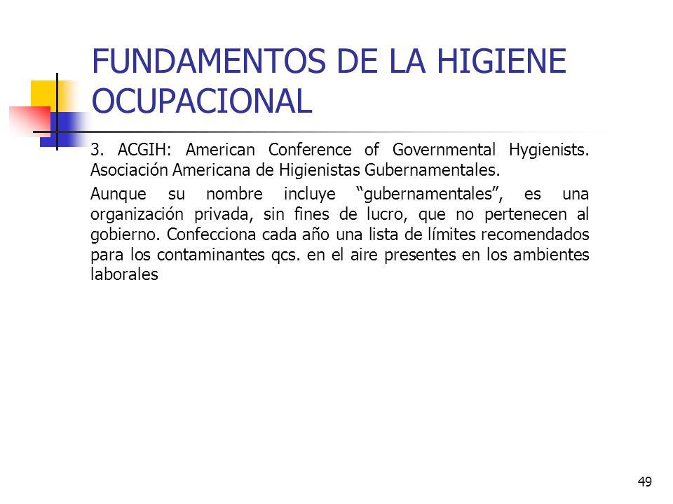 49 FUNDAMENTOS DE LA HIGIENE OCUPACIONAL 3. ACGIH: American Conference of Governmental Hygienists. Asociación Americana de Higienistas Gubernamentales