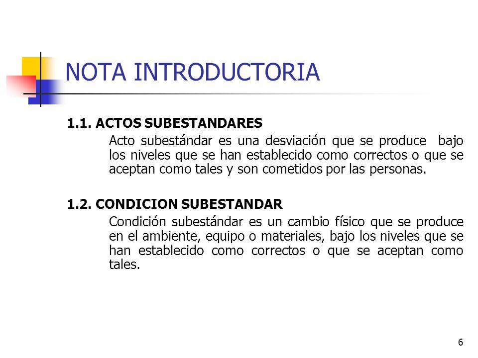 6 NOTA INTRODUCTORIA 1.1. ACTOS SUBESTANDARES Acto subestándar es una desviación que se produce bajo los niveles que se han establecido como correctos