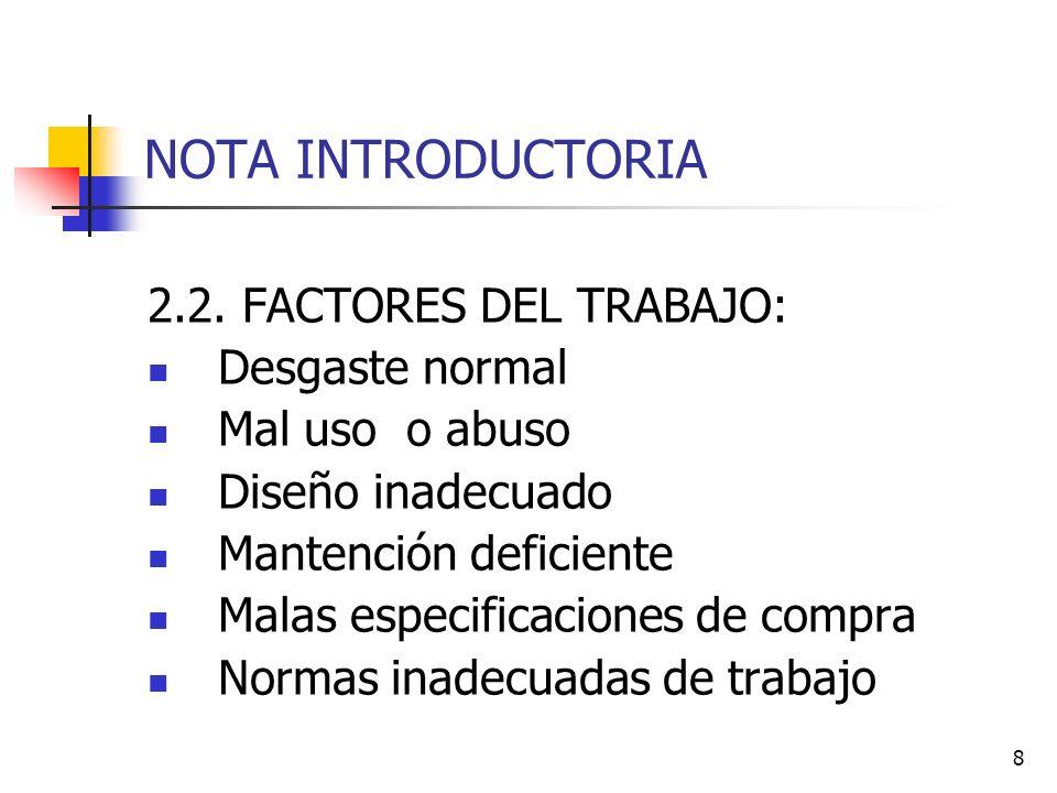 8 NOTA INTRODUCTORIA 2.2. FACTORES DEL TRABAJO: Desgaste normal Mal uso o abuso Diseño inadecuado Mantención deficiente Malas especificaciones de comp