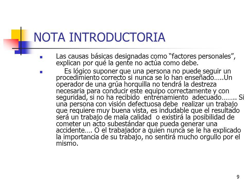 10 NOTA INTRODUCTORIA En la misma forma, las causas básicas designadas como FACTORES DE TRABAJO, explican por qué existen o se crean condiciones subestándares.