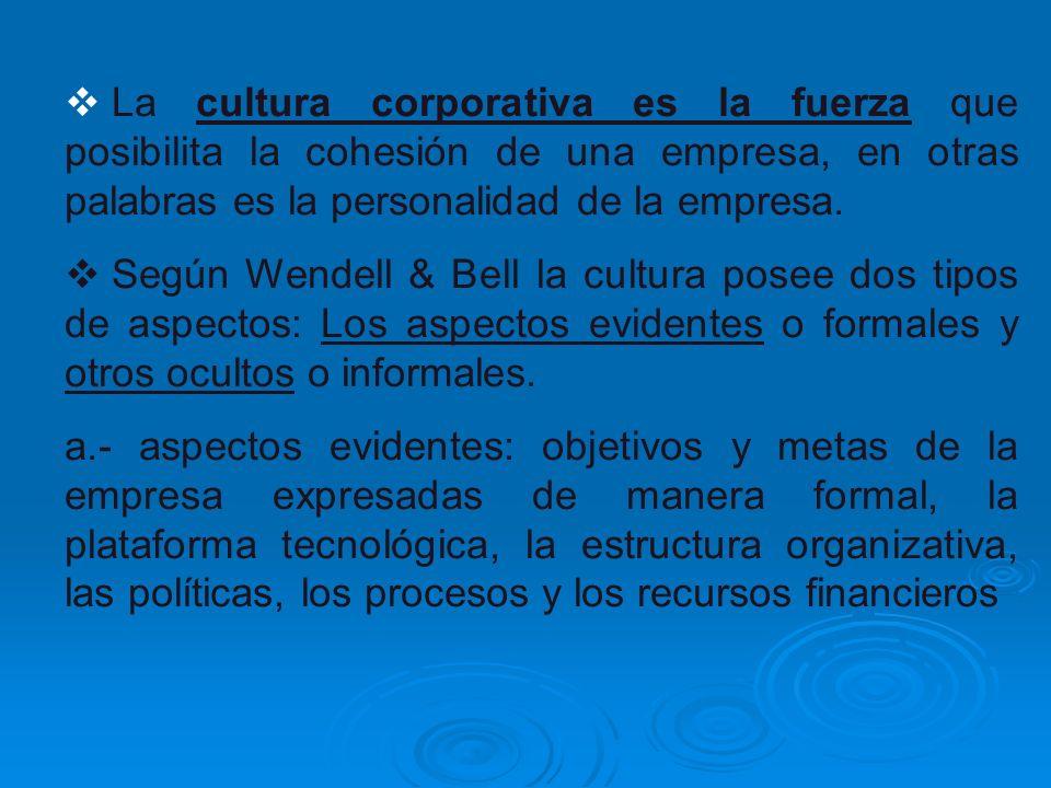 La cultura corporativa es la fuerza que posibilita la cohesión de una empresa, en otras palabras es la personalidad de la empresa. Según Wendell & Bel