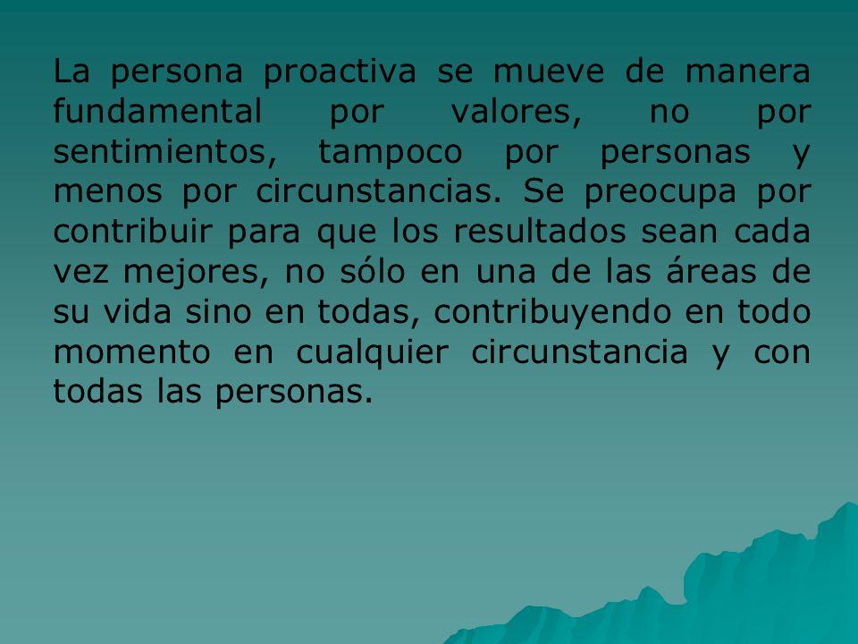 La persona proactiva se mueve de manera fundamental por valores, no por sentimientos, tampoco por personas y menos por circunstancias. Se preocupa por